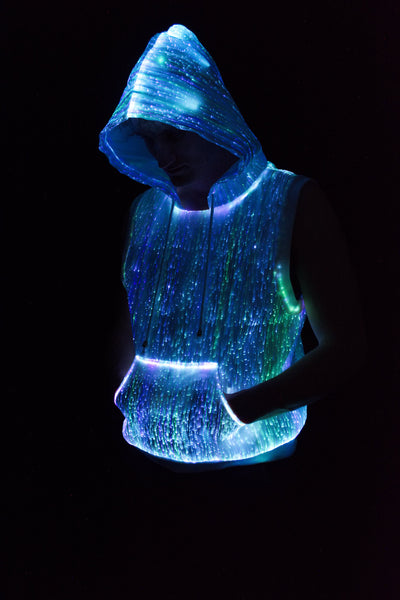Fiber Optic Women's Light Up Sleeveless Hoodie