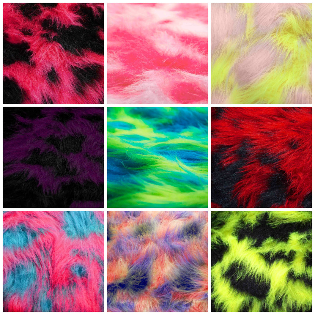 Multicolored Camo Faux Fur By the Yard - 1 Yard