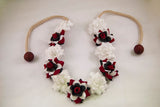 Red White, & Black Flower Crown Headband