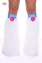 Crazy Daisy Fluffy Leg Warmers- Hot Pink Daisy
