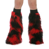 Red and Black Fluffy Leg Warmers with Red or Black Kneebands
