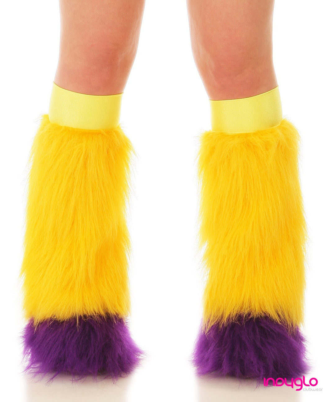 Gold Fluffy Leg Warmers with Purple Tips and Yellow Knee Bands
