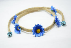 dark blue daisy headband