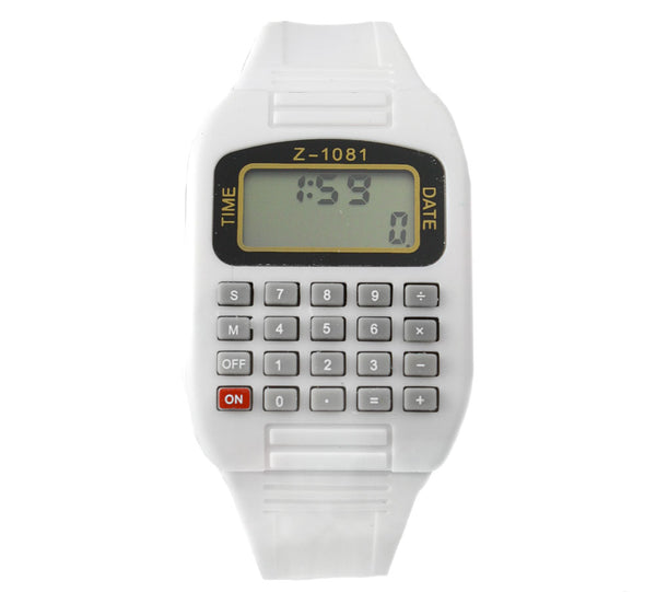 White LED calculator watch