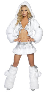 Skirt Set in White/Silver With Hooded Jacket