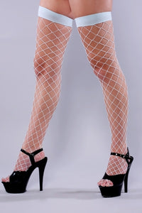 Fishnet Hold Ups- Baby Blue