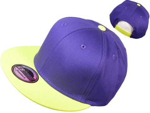 Purple/Highlighter Yellow Snapback Hat w/ Green Underbill