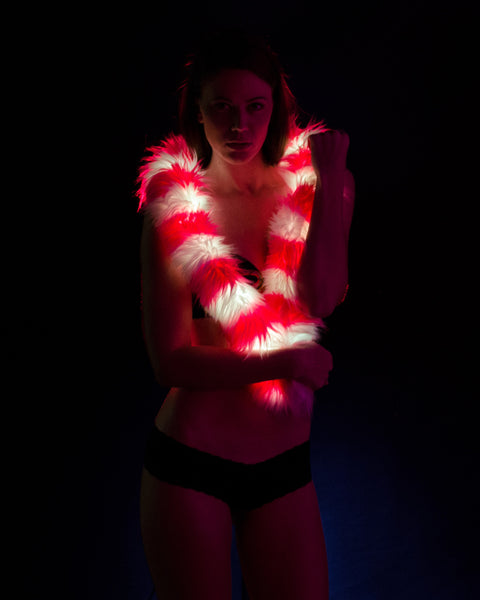 Pink Striped Light up Fur Boa