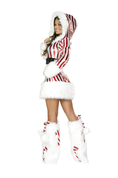Candy Cane Hooded Mini Dress Back