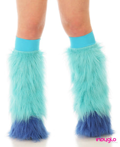 Turquiose Fluffy Leg Warmers with Blue Tips with Turquiose Knee bands