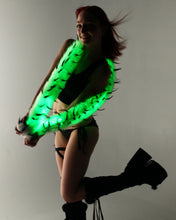 Black Spike Light up Fur Boa - Color Changing
