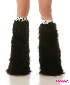 Black Fluffy Legwarmers with Snow cat Knee Bands