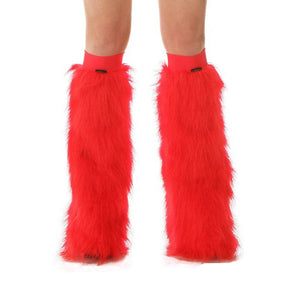 Red Fluffy Leg Warmers