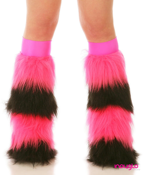 Hot Pink & Black Quad Fluffies with Hot Pink Knee Bands