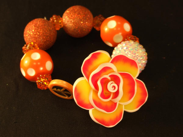 Orange Tie Dye Flower Bracelet