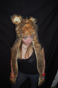 Fuzzy long animal hat-bear