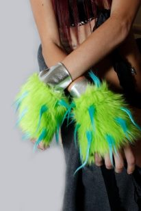Wrist Cuffs in Lime Green Fur with Blue Spikes