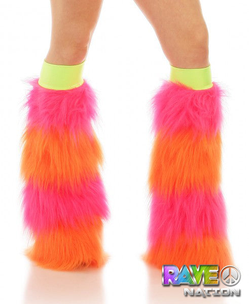 Pink & Orange Striped Fluffy Boot Covers