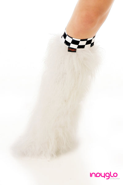 White Fluffy Leg Warmers with Checkered Knee Bands