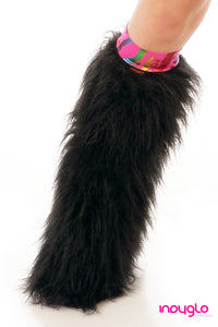 Black Fluffy Legwarmers with TIger Multi Knee Bands