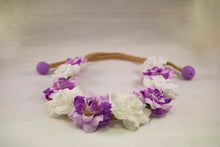 Purple Petal and White Flower Crown
