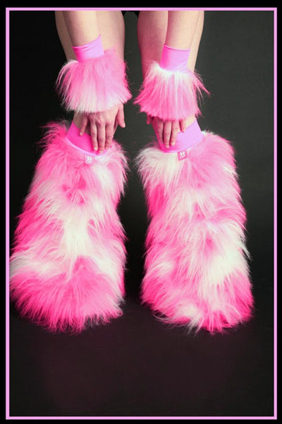 Fluffy Cuff Pink & White Set