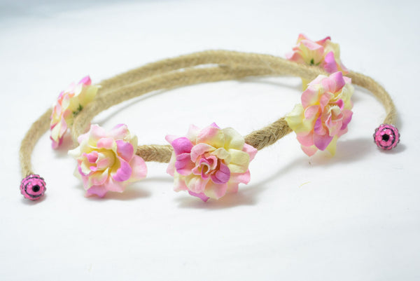 pink and peach rose flower crown