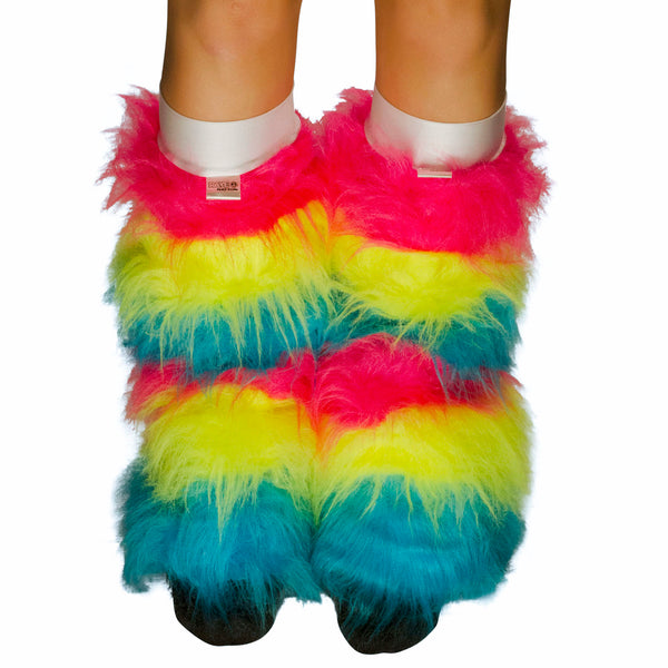 Neon Rainbow Fluffy Leg Warmers / White Kneebands