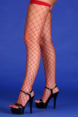 Fishnet Tights- Red