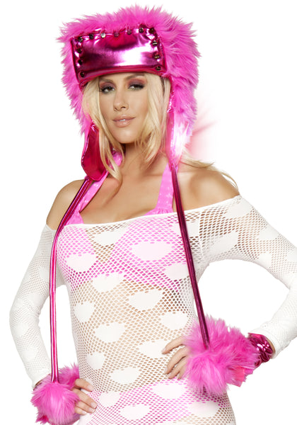 Hot Pink Screw Faux Fur Light-Up Hat
