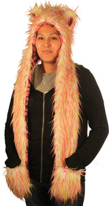 Animal hood White with Pink and Lime Spikes 4