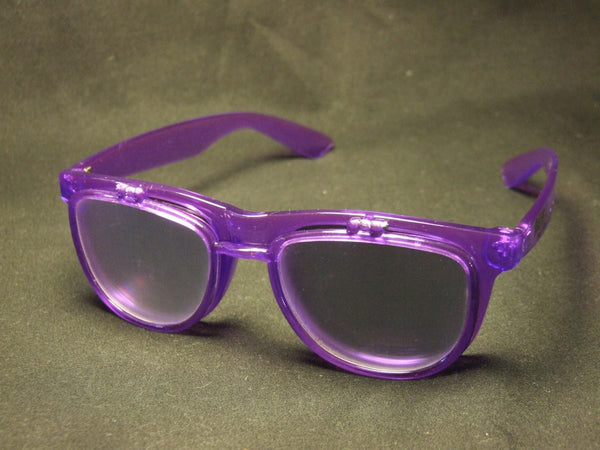 Rainbow Diffraction Vision Sunglasses- Transparent Purple