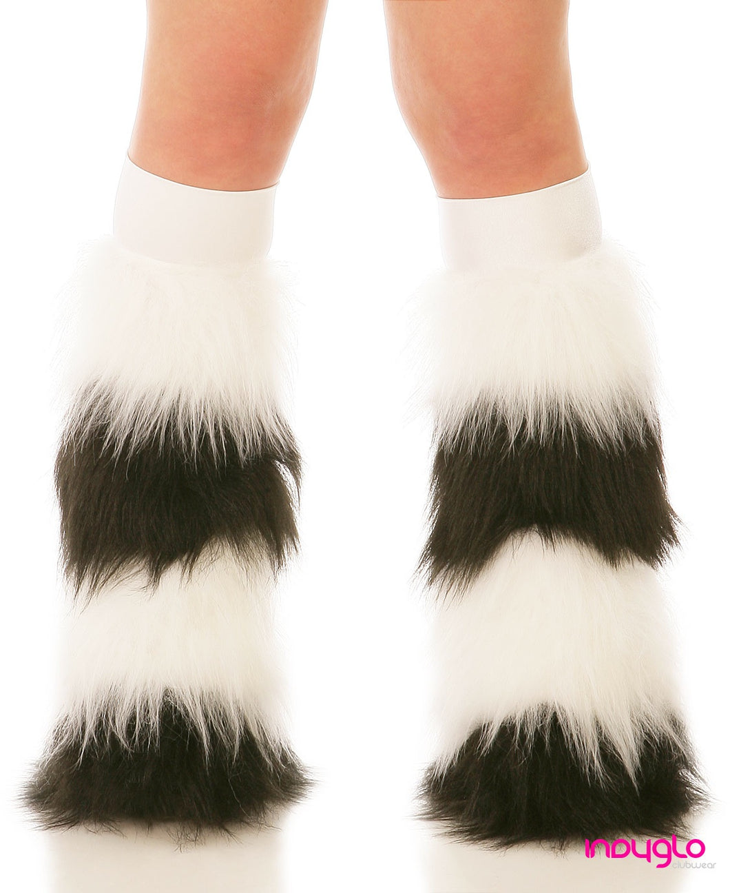 White & Black Quad Fluffies with White Knee Bands