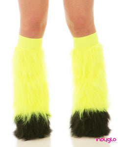 Flo Yellow Fluffy Leg Warmers with Black Tips and Flo Yellow Knee bands
