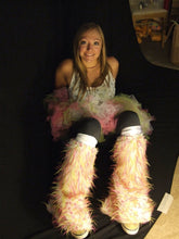 TrYptiX White Fur with Pink & Yellow Spiked Leg Warmers