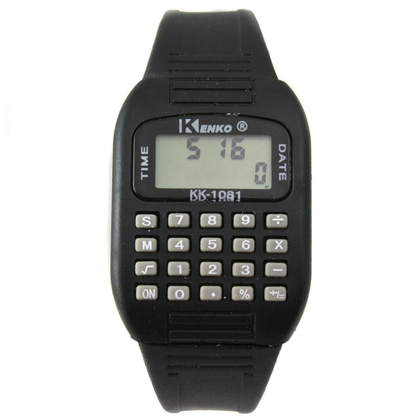 Black LED calculator watch