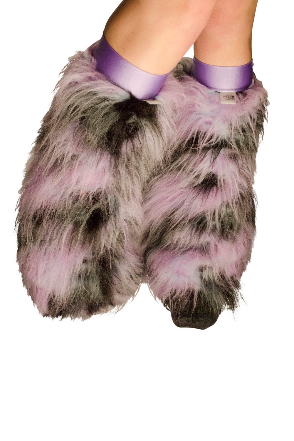 Lilac and Black Leg Warmer Fluffies