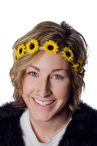 Yellow Sunflower Flower Crown Headband Model