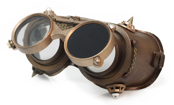 Steampunk Goggles - Gear inside with Chain and Bolts