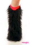 Black Fluffy Legwarmers with Red Knee Bands