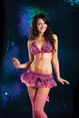 Pink Zebra Dance Skirt Set (front)