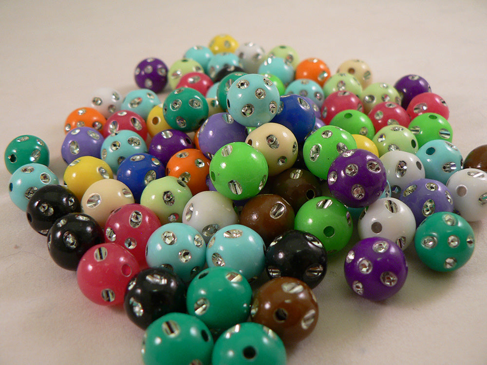 Solid Color Metallic Dot Round Kandi Beads