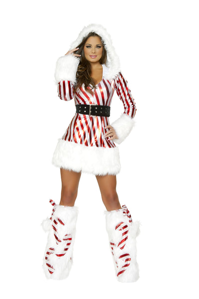 Candy Cane Hooded Mini Dress Front