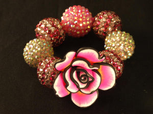Pink Chocolate Tie Dye Flower Kandi with Disco Beads
