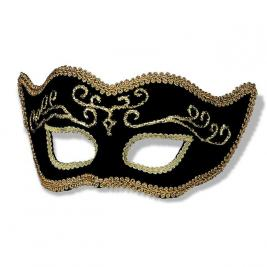 Black Venetian Half Mask with Gold Lining