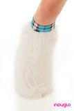 White Fluffy Leg Warmers with School girl Blue Knee Bands