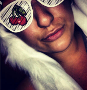 Cherry Vinyl Rave Shades with White Frames