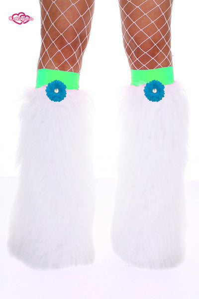 Crazy Daisy Fluffy Leg Warmers- Blue Daisy