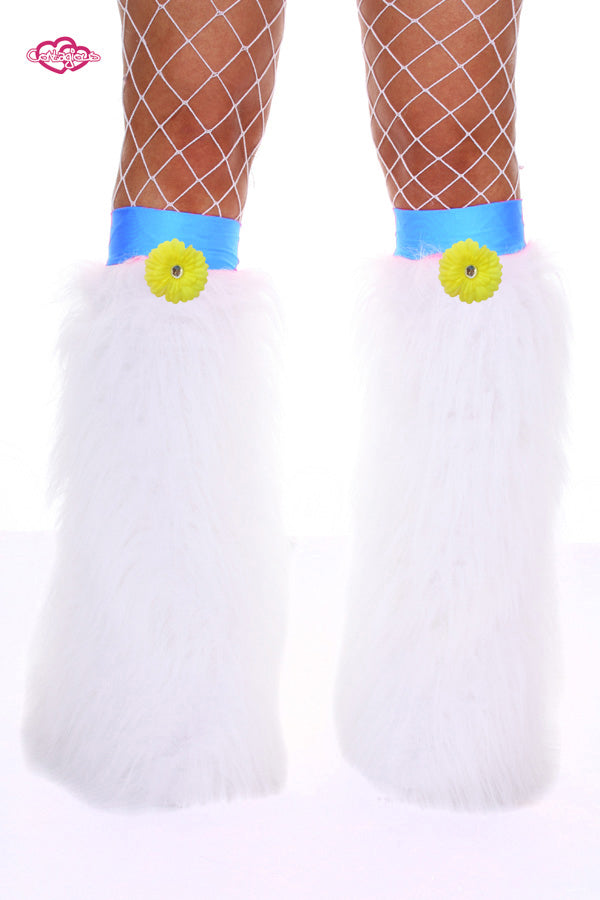 Crazy Daisy Fluffy Leg Warmers- Yellow Daisy