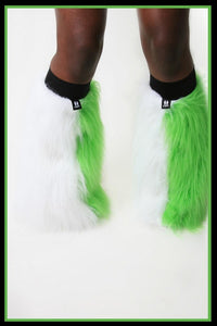 Vertical White & Green Fluffies